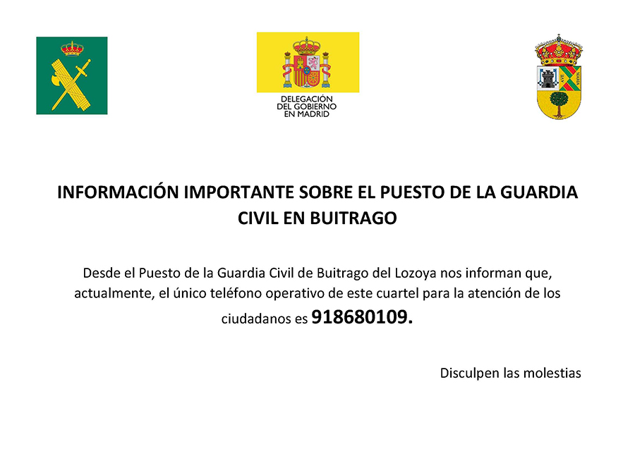 INFORMACIÓN IMPORTANTE GUARDIA CIVIL BUITRAGO